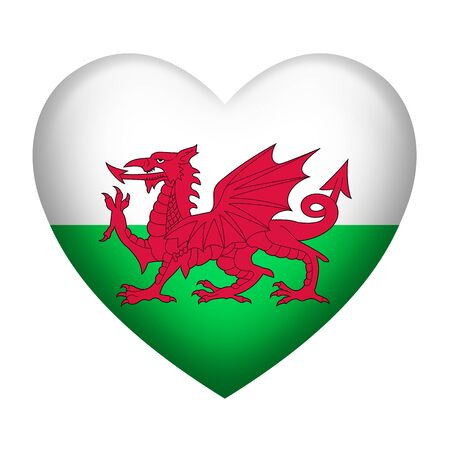 Heart shape of Wales flag isolated on white