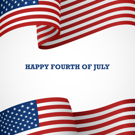 AMERICAN FLAG: Decoration of United States of America insignia on white with the word Happy Fourth Of July