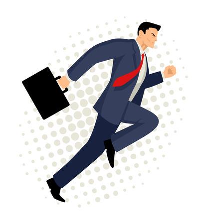 ブリーフケース、ビジネス、エネルギッシュでダイナミックな概念と実行している実業家の漫画イラスト 写真素材 - 58217067