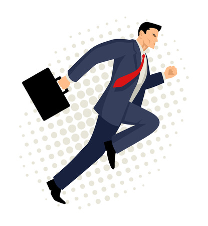 Cartoon illustration of a businessman running with briefcase, business, energetic, dynamic concept
