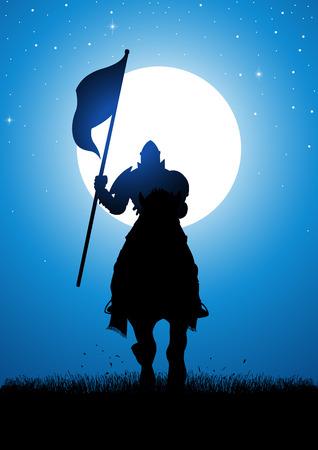 Silhouette Darstellung eines Ritters mit einer Fahne in der Nacht bei Vollmond Lager