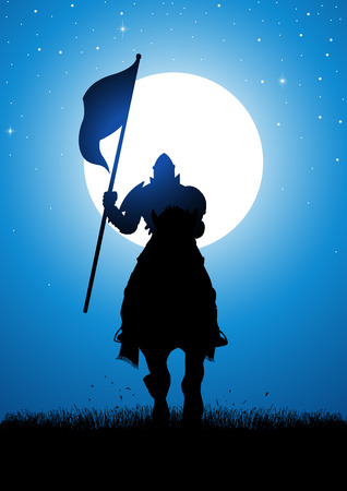 Silhouette illustration of a knight bearing a flag at night during full moon