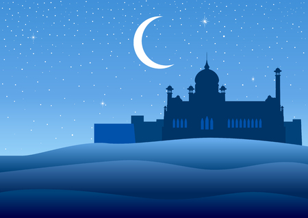 Illustration of a mosque on desert landscape during starry night