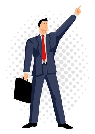 optimistic: Cartoon illustration of a businessman with briefcase pointing up, business, confidence, optimistic concept