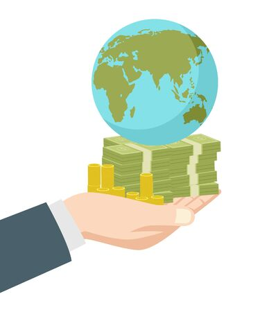 wealth concept: Graphic illustration of hand holding money and earth globe, business, wealth, success, capitalist, capitalism concept Illustration