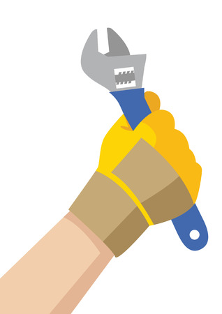 handy man: Illustration of a handyman hand with glove holding a wrench Illustration