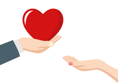 adoration: Illustration of a man hand giving heart to a woman Illustration