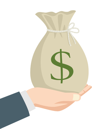 hand holding money bag: Illustration of a businessman hand holding a bag of money, business, reward, saving, investment concept