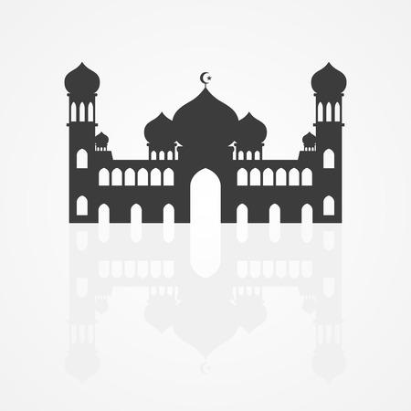 Silhouette illustration of a mosque on white background. Islam, Islamic, Ramadan Kareem, Eid Mubarak theme