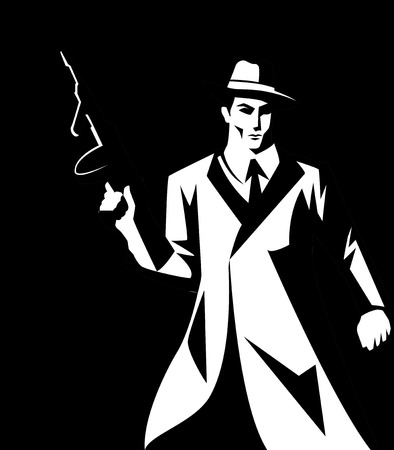 cartoon gangster: Black and white illustration of a man holding machine gun, gangster, mobster, mafia symbol