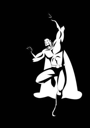 brawny: Superhero in flying pose in black and white illustration