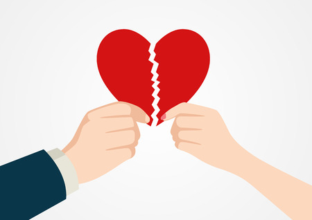 soul mate: Illustration of a man and woman hand holding each part of heart symbol