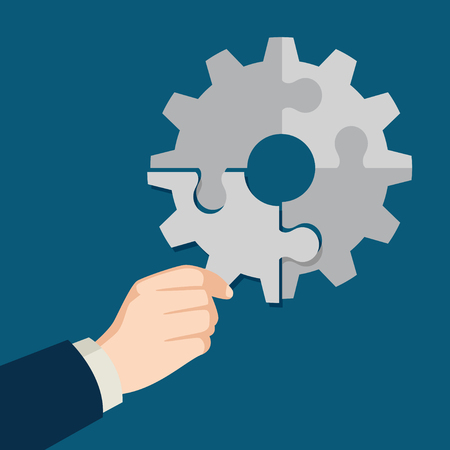 solutions: Illustration of businessman hand holding the final piece of puzzle which forming a gear, business, complete, completion, solution concept