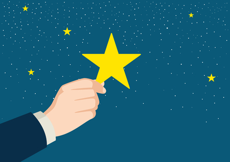 picking up: Illustration of a businessman hand picking up a star