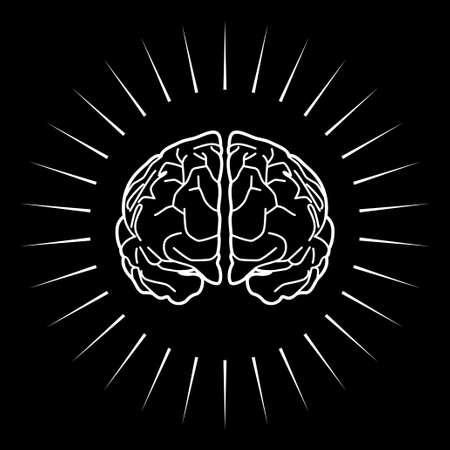 creativity symbol: Graphic illustration of a brain with light burst, smart, creativity, intelligence symbol