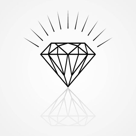 flawless: Line art illustration of a diamond