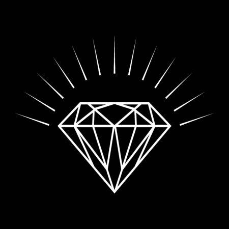 flawless: Line art illustration of a diamond on black background Illustration