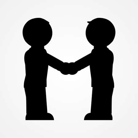 two people: Two people handshake icon Illustration