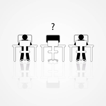 empty desk: Graphic illustration of two people working on the computers with one empty desk. Job vacancy, new recruitment, trainee, occupation, job search theme Illustration