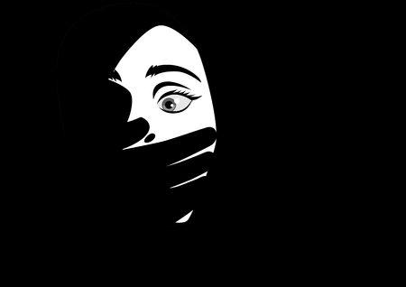 Black and white illustration of a hand covering woman mouth concept for kidnapping or domestic violence.
