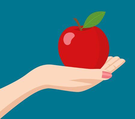 segurar: Ilustração de uma mão mulher segurando uma maçã