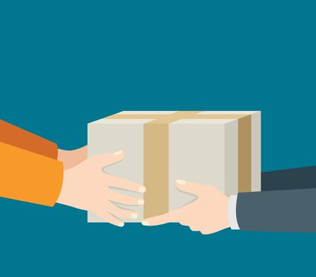 receiving: Illustration of men hand delivering and receiving package