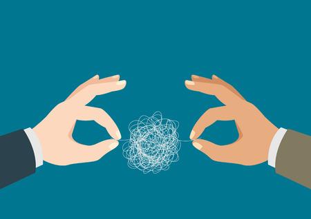 Illustration einer Zwei-Mann-Hände, die versuchen den verwickelten Faden zu entwirren Vektorgrafik