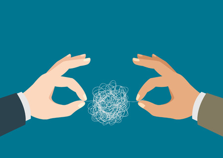 threads: Illustration of a two man hands trying to untangle the tangled thread