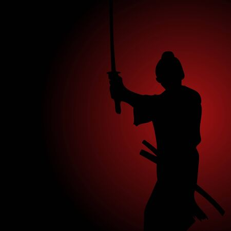honor: Silhouette illustration of a samurai, spirit, determination, honor, bushido concept