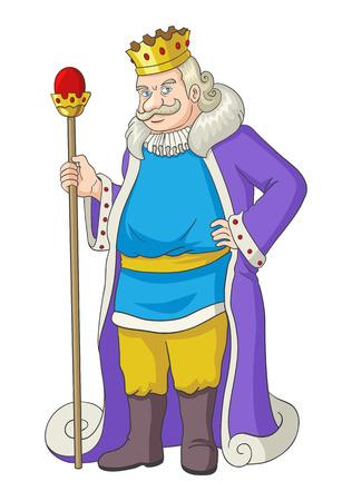 rey caricatura: Ilustración de dibujos animados de un viejo rey que sostiene un cetro