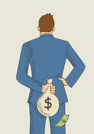 Ilustración de dibujos animados de un hombre que oculta una bolsa de dinero detrás de su espalda para el concepto de evasión de impuestos