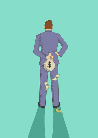 Cartoon illustration of a man hiding a money bag behind his back for tax evasion concept