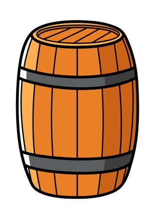 wooden barrel: Graphic illustration of a wooden barrel isolated on white