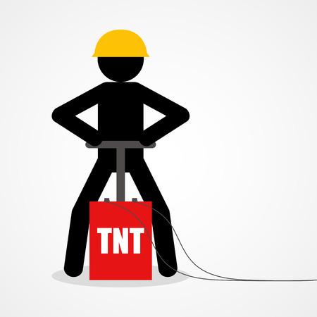 detonating: Graphic illustration of a stick figure detonating a TNT