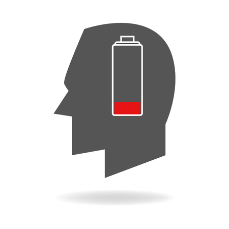 recharge: Graphic illustration of human head with empty battery indicator
