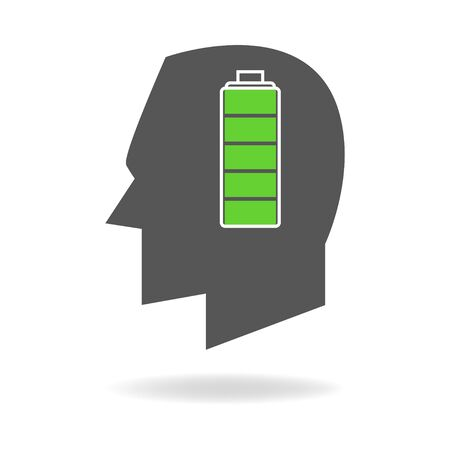 full: Graphic illustration of human head with full battery indicator