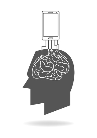 junkie: Graphic illustration of a smart phone rooted in the human brain