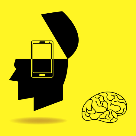 replaced: Graphic illustration of human brain being replaced by a smart phone Illustration