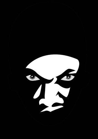 lurk: Black and white illustration of a man face lurking in the dark Illustration