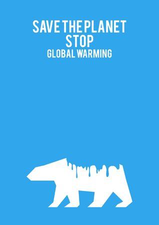melting: Graphic illustration of a melting polar bear, concept for global warming