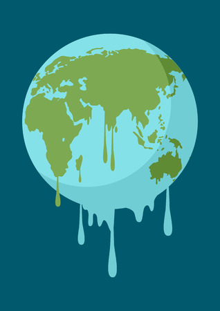 ozone: Graphic illustration of a melting earth, concept for global warming