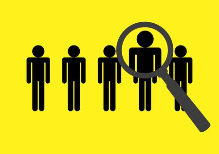 job vacancy: Magnifying glass searching on stick figures, design concept for headhunting, search for employees or job vacancy