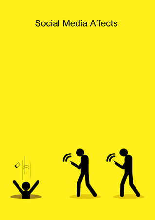obsessed: Illustration of stick figures walking ignorantly with smart phone into the hole Illustration