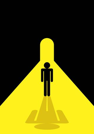 opportunity concept: Stick figure standing in the tunnel for hope, opportunity concept