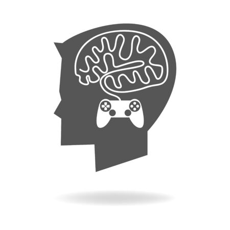 brain game: Graphic illustration of a boy head with brain made from game stick cable