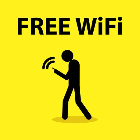 wireless hot spot: Illustration of a stick figure holding a smart phone with the text free wireless