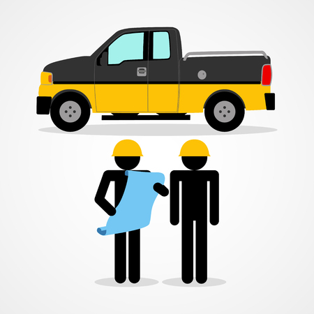 Stick figures illustration of a construction workers Illustration