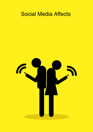 Illustration of stick figures standing back to back and using their smart phones while ignoring each other