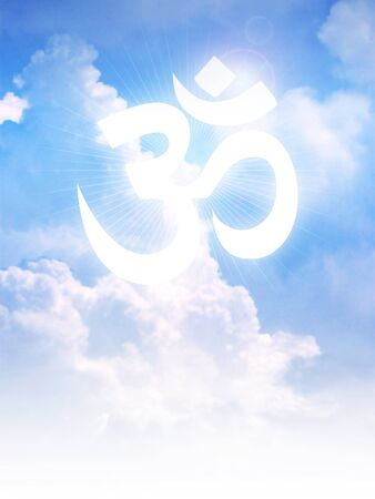 aum: Aum or Om symbol of Hinduism on clouds Stock Photo