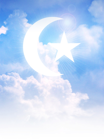 Star and Crescent Moon, symbol of Islam on clouds